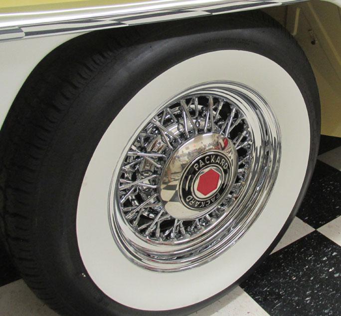 packard   wire wheel  whitewall tire package roadster brand wire wheels