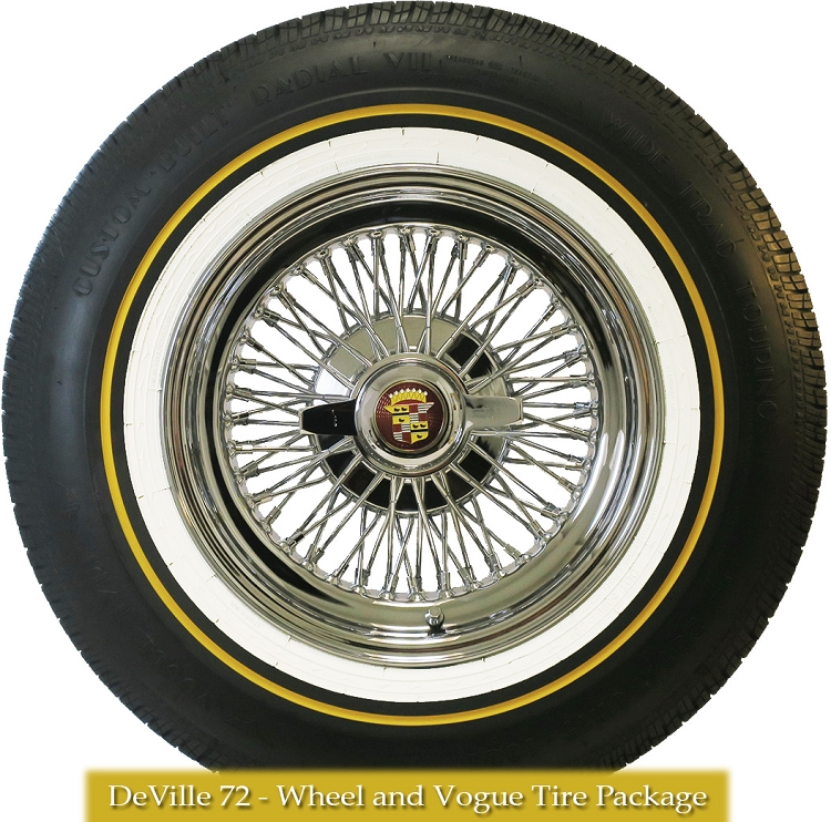 """P235 70R15 Tires >> Cadillac DeVille 72 Knock-Off Wire Wheels 15 X 7"""" With Vogue Tire Package 
