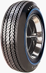 Goodyear 695/14 Blue Streak Raised White Letters  With Blue Stripe