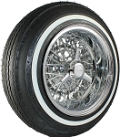 Shown is a 14 X 7 Inch REVERSE Truespoke® 50-Spoke Wire Wheel with a narrow white wall Premium Sport 5.20 Tire.
