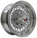 Skylark 50 all chrome wire wheel by Truespoke. Size shown is 15 X 6 inch. Wheel shown is standard type.