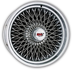 72 Spoke Dayton Wire Wheel. Triple Cross-Lace Style is shown. Reverse (deep dish style). HEX style knock off with Dayton Emblem