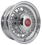 Buick 15 X 6 inch wire wheel shown with the Dome cap with red Buick emblem