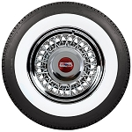 Chevrolet - Oldsmobile - Pontiac Wire Wheel and Whitewall Tire Package - Truespoke All-Chrome Type. Price shown is per wheel and tire.