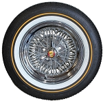 Price shown is for one wheel and tire. Brougham 50 Wire Wheel with Vogue P235/70R15 white and gold tire. Spinner is not included, optional.