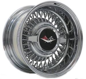Trueray 14 X 7 inch REVERSE style wire wheel with extra-cost 1959-1960 Chevrolet Spinner Cap.