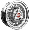 Chevrolet Wire Wheel by Truespoke with 3-bladed spinner cap and Chevrolet emblem.