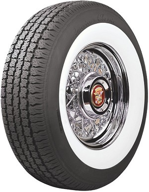 Cadillac wire wheel with American Classic P235/75R15 whitewall tire with a 3 inch whitewall