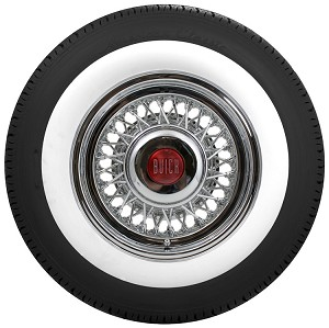 Shown is a 15 X 6 inch Buick wire wheel with our Smooth Cap, mounted on an American Classic whitewall tire with a 2.75 inch whitewall. Tire size: P225/75R15