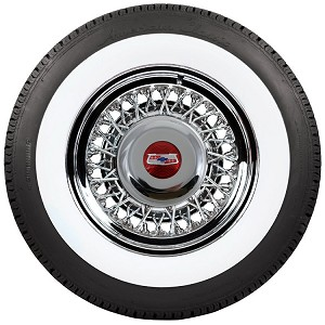 15 X 6 inch 56 spoke wire wheel with an American Classic 2.5 inch whitewall tire