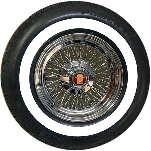 DeVille 72 Knock-off wire wheel shown with a P235/75R15 whitewall tire. The knock-off type is a 2-Blade Swept. Whitewall stripe is 1.5 inches.