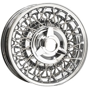 Ford Wire Wheel shown has 56 spokes and chrome steel spinner and emblem.