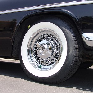 Chrysler  Wire Wheel and Whitewall Tire Package - Truespoke All-Chrome Type. Price shown is per wheel and tire.