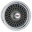 100 Spoke Dayton Wire Wheel. Triple Cross-Lace Style is shown. Reverse (deep dish style). HEX style knock off with Dayton Emblem